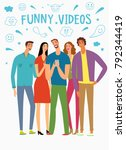 friends looking video and... | Shutterstock .eps vector #792344419