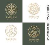 nature logo set. floral logo.... | Shutterstock .eps vector #792344869