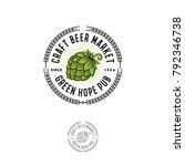 Beer Pub Emblem. Hop Cone Logo...
