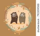 cute bears in love. happy... | Shutterstock .eps vector #792359500