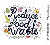 reduce food waste hand drawn...   Shutterstock .eps vector #792360133