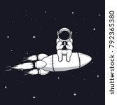 funny astronaut sits on rocket... | Shutterstock .eps vector #792365380