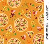 seamless texture of pizza... | Shutterstock . vector #792366094