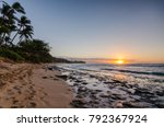 sunset beach oahu  hawaii... | Shutterstock . vector #792367924