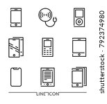 set of electronic devices flat... | Shutterstock .eps vector #792374980