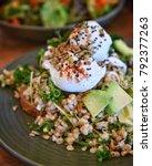 healthy salad  avocado  poached ... | Shutterstock . vector #792377263