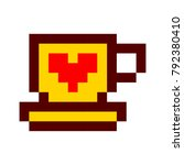 pixel cup of coffee tea cartoon ... | Shutterstock .eps vector #792380410