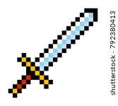 pixel video game sword icon... | Shutterstock .eps vector #792380413