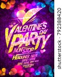 valentine's day party poster... | Shutterstock .eps vector #792388420