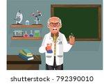 professor holding beak... | Shutterstock .eps vector #792390010