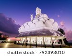 guan yin statue with twilight... | Shutterstock . vector #792393010