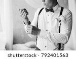 grooms morning preparation... | Shutterstock . vector #792401563