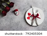 valentines day table setting... | Shutterstock . vector #792405304