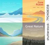 set cute cartoon landscapes... | Shutterstock . vector #792408358