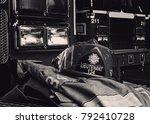 firefighter gear with fire... | Shutterstock . vector #792410728