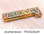 Small photo of tenacity word abstract in letterpress wood type printing blocks