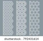 vector set of line borders with ... | Shutterstock .eps vector #792431614