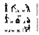 pictogram man owner and cat ...   Shutterstock .eps vector #792437080
