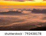 sunrise and mist on mountain ... | Shutterstock . vector #792438178