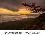 sunrise and mist on mountain ... | Shutterstock . vector #792438184