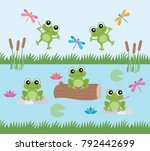 Stock vector frog fun happy frogs and dragonflies 792442699