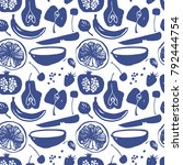 fruit silhouettes  pattern in... | Shutterstock .eps vector #792444754