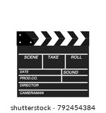 movie clapper isolated on white.... | Shutterstock .eps vector #792454384