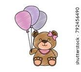 cute bear teddy with balloons... | Shutterstock .eps vector #792456490