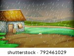 countryside scene with little... | Shutterstock .eps vector #792461029