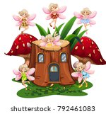 six fairies flying around log... | Shutterstock .eps vector #792461083