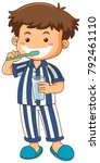 boy in pajamas brushing teeth... | Shutterstock .eps vector #792461110