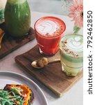 pink latte and matcha latte...   Shutterstock . vector #792462850