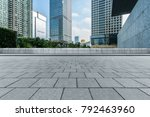 empty brick floor front of... | Shutterstock . vector #792463960