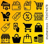 shopping vector icon set... | Shutterstock .eps vector #792474478