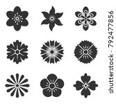 icons of flowers. flat style.... | Shutterstock .eps vector #792477856