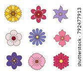 icons of flowers. flat style....   Shutterstock .eps vector #792477913