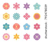 icons of flowers. flat style.... | Shutterstock .eps vector #792478039