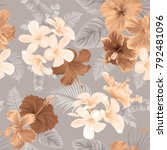 tropical seamless pattern with... | Shutterstock .eps vector #792481096