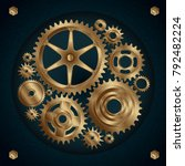 golden gear mechanism... | Shutterstock .eps vector #792482224