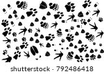various animal footprint... | Shutterstock .eps vector #792486418