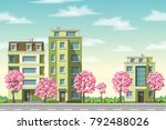 some houses with flowering trees | Shutterstock .eps vector #792488026