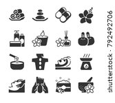 spa icon set. included the... | Shutterstock .eps vector #792492706