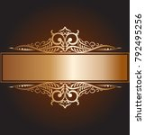 vector vintage frame with gold...   Shutterstock . vector #792495256