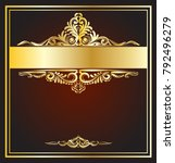 vector vintage frame with gold...   Shutterstock .eps vector #792496279