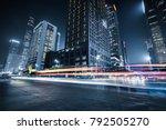 the light trails on the modern... | Shutterstock . vector #792505270