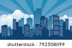 building icon and city | Shutterstock .eps vector #792508099