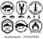 set of seafood labels. fish ... | Shutterstock .eps vector #792527950