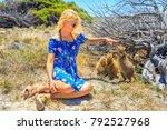 three quokka sniffing girl hand ...   Shutterstock . vector #792527968
