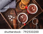 homemade hot chocolate with... | Shutterstock . vector #792533200