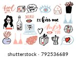 valentines day set.  heart ... | Shutterstock .eps vector #792536689